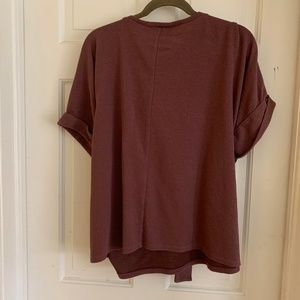 Plum short sleeve blouse